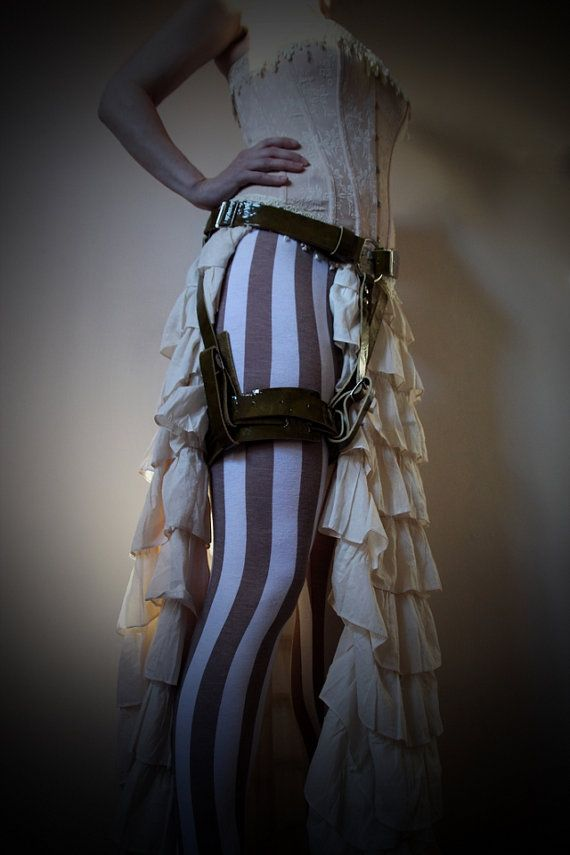 Unisex Thigh Harness - Moss Green Patent - steampunk - festival - burning man - apocalypse - mad max, Please read Description for size