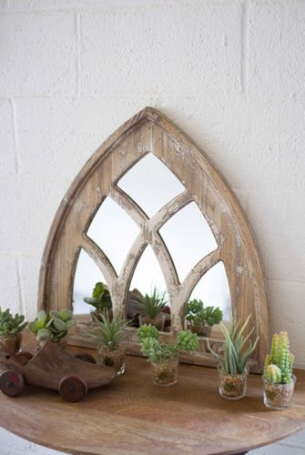 """The Small Church Mirror features a thick, distressed wood frame that brings a modern rustic touch to any space. Product Dimensions: 23.5"""" x 24"""" H Mirror, Small Mirror, Church Mirror, Rustic Mirror, Modern Farm House Mirror, Unique Mirror, Distressed Wood Mirror, Rustic, Farmhouse, Modern Farmhouse, Church, Home Decor, Rustic Decor, Farmhouse Decor, Entry Way Decor, Entry Way Mirror, Accent Mirror, Decor, Accent"""