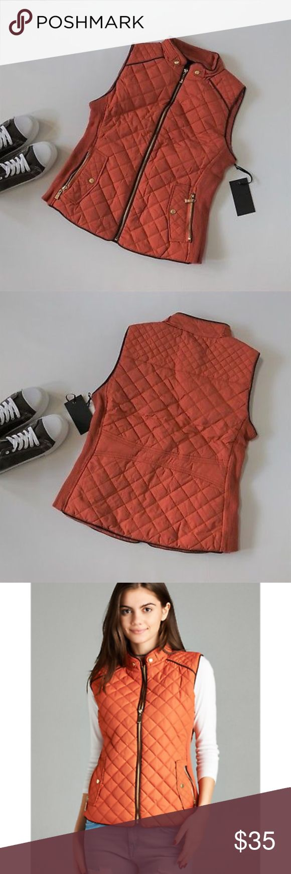 Quilted Padded Vest New S M L Zip Pockets RUST Quilted Padded Vest New S M L Zip Pockets Lightweight Rust Burnt Orange  Features:  poly; poly lining vegan suede piping front zip pockets side ribbing that stretches for a perfect fit hand wash  Measurements, laying flat (in inches):  Bust:       18 S, 19 M, 20 L Waist:      16, 17, 18 Length:    22, 23, 23 Jackets & Coats Vests