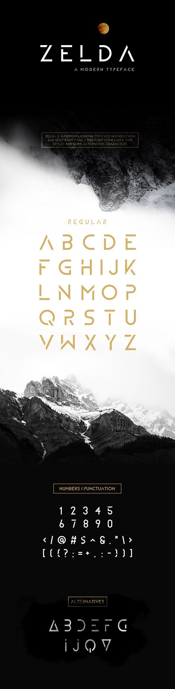ZELDA Typeface (REGULAR)  #serif #font #sans • Click here to download ! http://graphicriver.net/item/zelda-typeface-regular/16106957?ref=pxcr