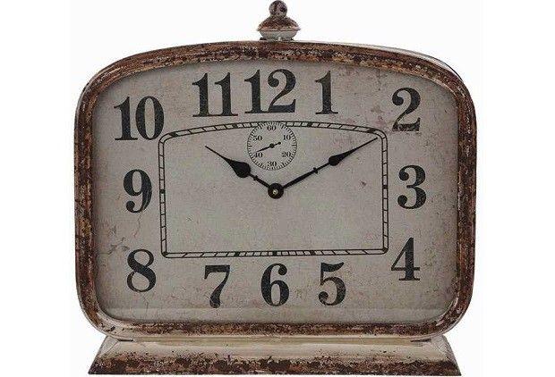 Large Rustic Metal Mantel Clock - From Antiquefarmhouse.com - http://www.antiquefarmhouse.com/current-sale-events/rustic-decor/large-rustic-metal-mantel-clock.html