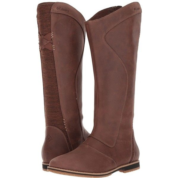 Columbia Twentythird Ave WP Tall Boot (Tobacco/Oxford Tan) Women's... ($190) ❤ liked on Polyvore featuring shoes, boots, knee-high boots, water proof boots, tan high boots, stretch boots, tan oxfords and tall knee high boots