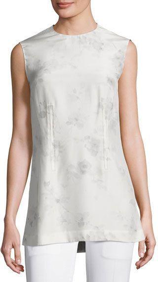 Calvin Klein Collection Flower-Print Silk Shell Top, Gray