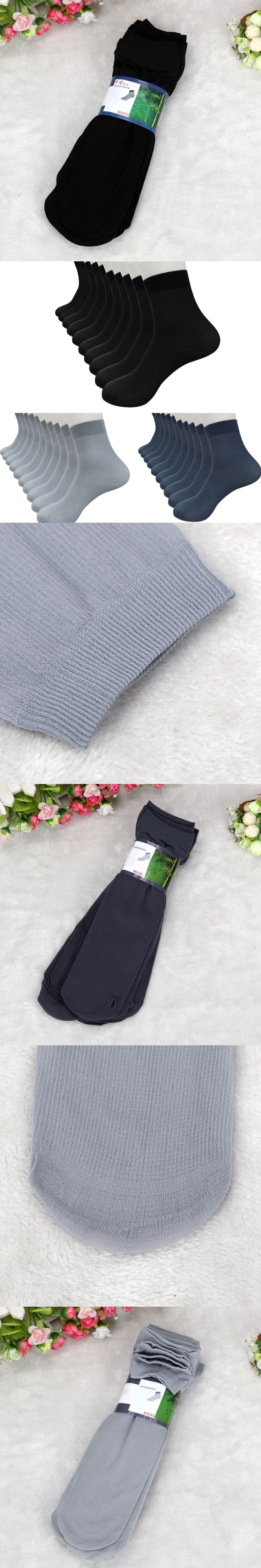 Big Sale 10 Pairs Bamboo Fiber Ultra-thin Elastic Silky Short Silk Stockings Men Socks