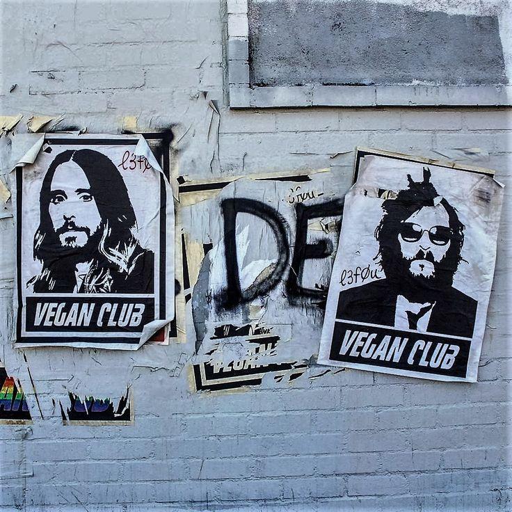 Limited Edition Street Art NewsPrint Poster Vegan Club featuring Jared Leto Signed L3f0u - model @natanewogsberg