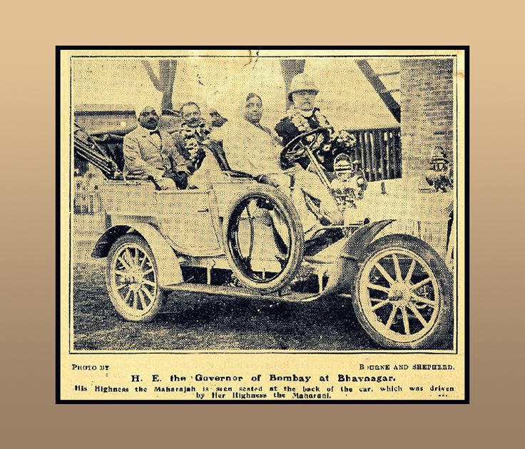 A 1910 Black & white photograph published in magazine titled- H. E. the Governor of Bombay at Bhavnagar!  #BlackandWhite #Heritage #TransportMuseum #Museum #Magazine #Photography #VintageCollection #Exhibit #Gurugram
