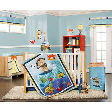 Crib Fashion Bedding > Carter's® Laguna Monkey 4-Piece Crib Bedding Set from Buy Buy Baby If it's a boy- I think this is the cutest thing in the entire universe. In fact, I might even want it for a girl. (Not the whole surfer theme.. I just love the surfing MONKEY!!)