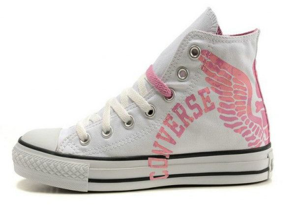 #White #Converse All Star High Top With Pink Letters and Wings Canvas #Shoes