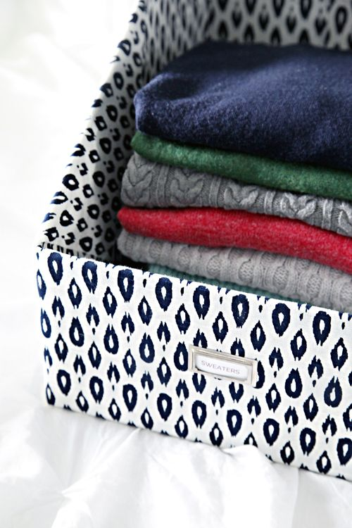 IHeart Organizing: DIY Sweater Boxes (make your own from a cardboard box & some fabric if you can't find the sizes you need)
