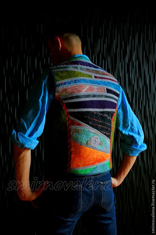 Купить Жилет мужской КОМАНДАНТЕ - абстрактный, команданте, валяный жилет, ждилет для мужчины, звезды, красный