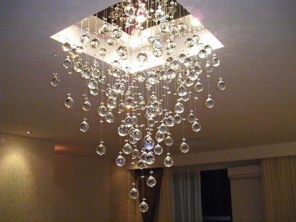 Lustre Pra Sala De Estar ~ Corte em gesso com uma cascata de cristais  Lustres  Pinterest  Ems