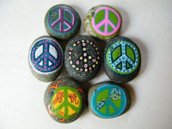 Peace Sign Symbol Painted Rock Art Painted by PonderingPebbles