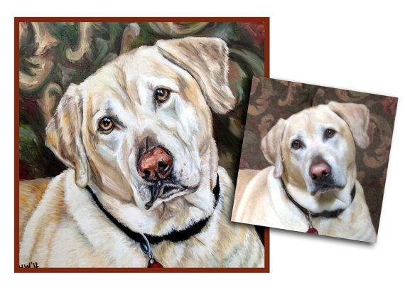 custom dog painting pet portrait original oil puppy painting yellow lab art great gift 24x24 made to order by Heather Hughes