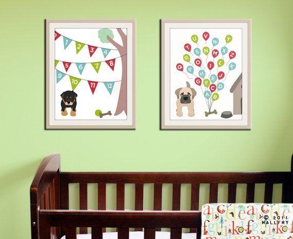 Alphabet print alphabet poster. ABC nursery art dog by Wallfry