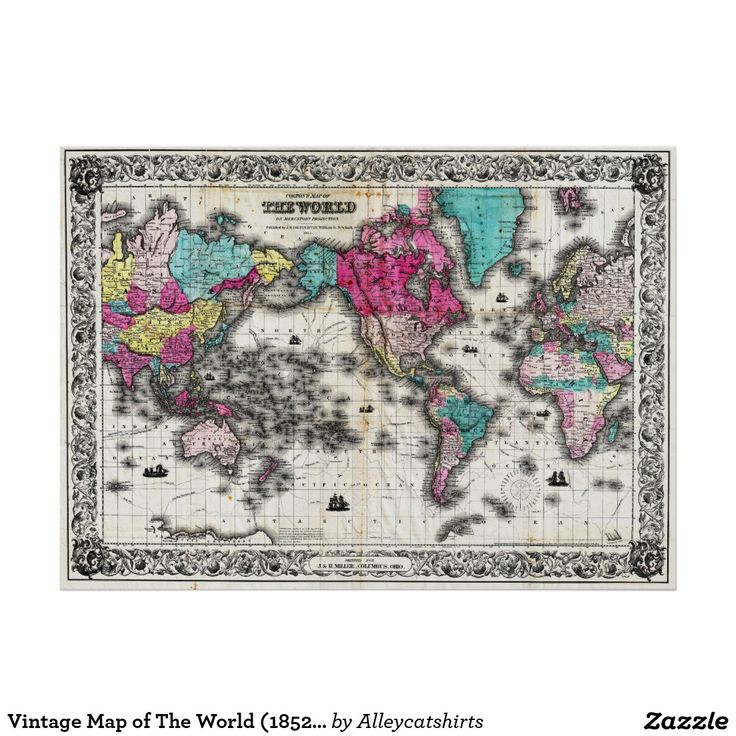 Vintage Map of The World 1852