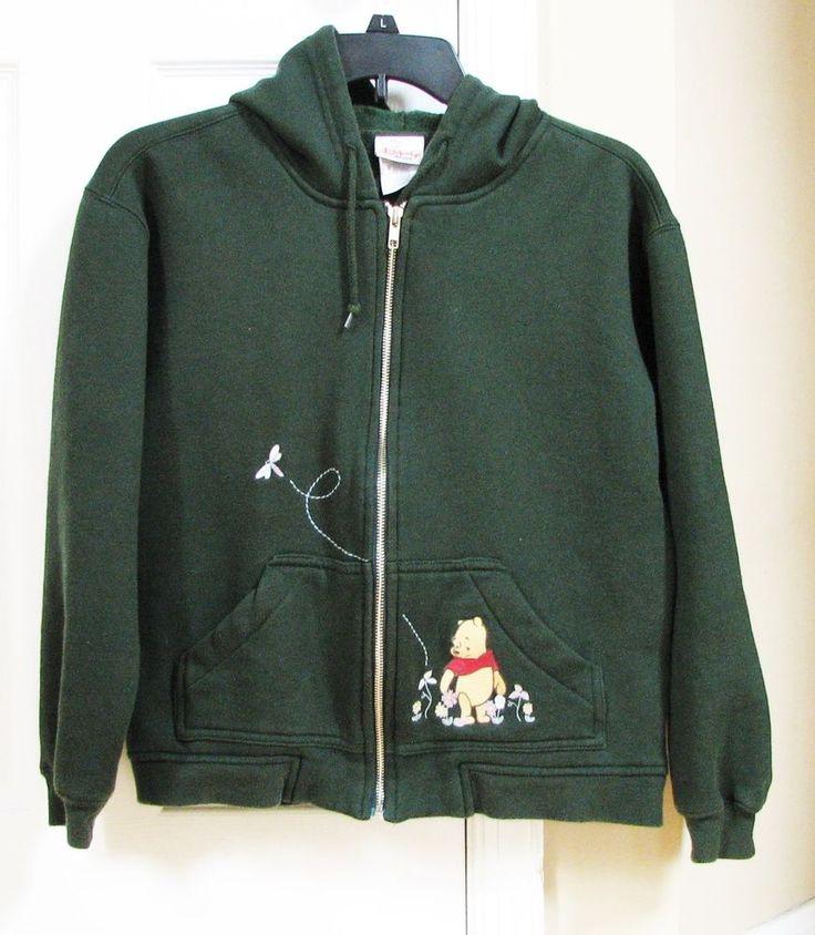 Disney Store Winnie the Pooh Green Zip Fleece Jacket S Women Hoodie Drawstring