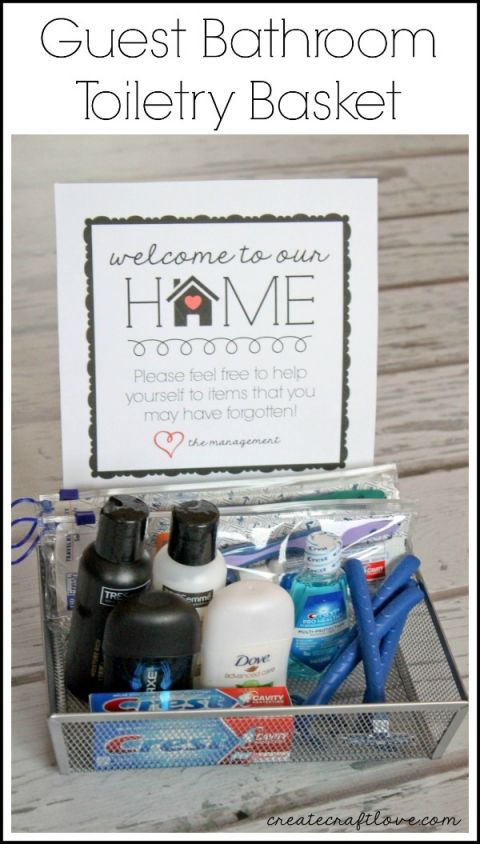 Guest Bathroom Toiletry Basket w/FREE printable  - idea for making guests feel at home!  via createcraftlove.com