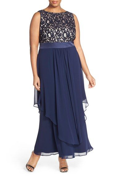Eliza J Lace & Chiffon Gown (Plus Size) available at #Nordstrom