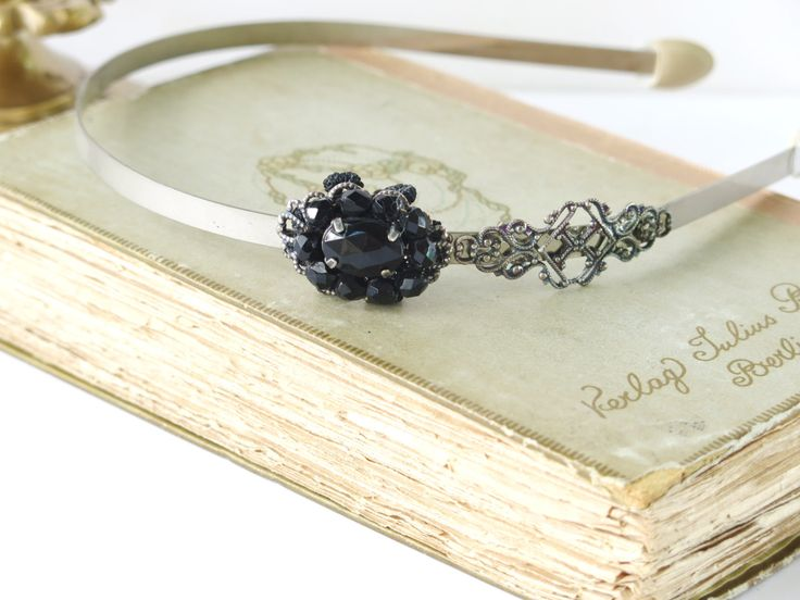 Steampunk Bridal Hair Accessories  Wedding Jewelry  Victorian Black  Headband By Talila Korolker (20.00 USD) by Unconventionalbrides