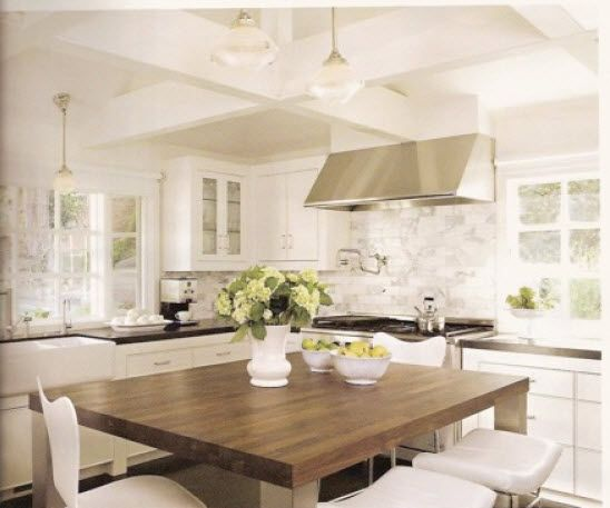 neutral kitchenDreams Kitchens, Kitchens Design, Interiors, Subway Tile, Wood Tables, Farmhouse Sinks, Farmhouse Kitchens, Block Islands, White Kitchens