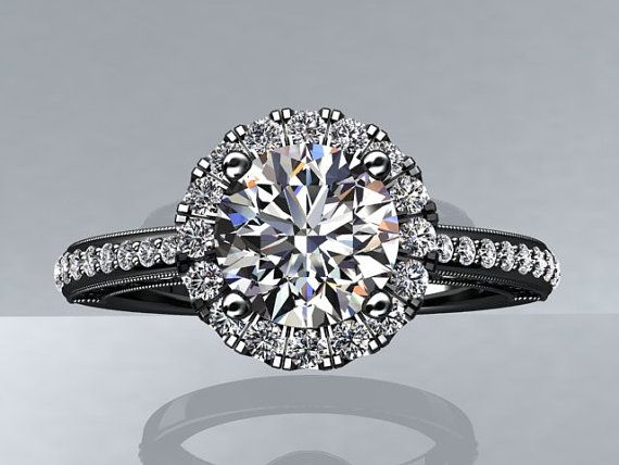 Victorian Inspired 14k Black Gold Engagement Ring, Wedding Ring With 1.25ct VVS quality White Sapphire Center  W5WS14BK
