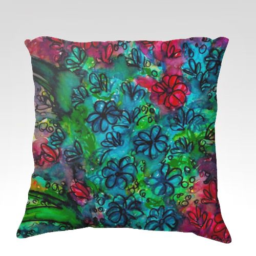 Flowers Make Me Smile Red Green Blue Velveteen Throw Cushion Cover