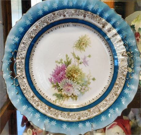 """1900s RS Prussia Charger Cake Plate 11""""  Large Antique Victorian Porcelain Plate"""