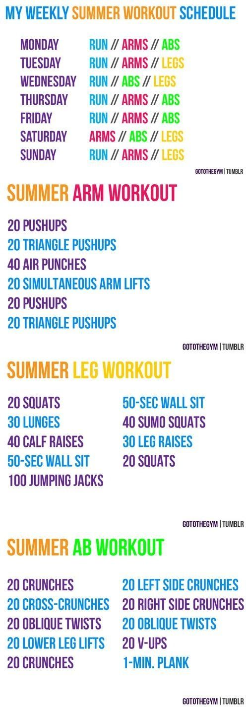 Weekly Summer Workout Schedule