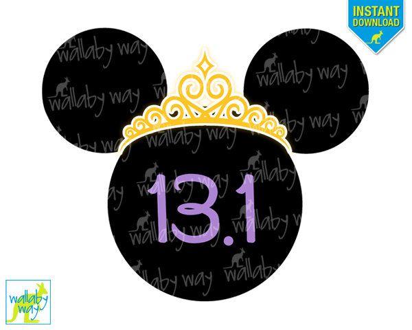 Disney Princess Half Marathon Printable Iron On Transfer or Use as Clip Art, DIY Disney Princess Shirt, Run Disney, Minnie Silhouette, head by TheWallabyWay on Etsy