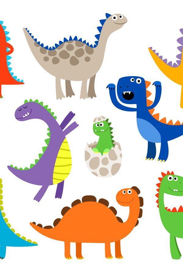 Cute Cartoon Dinosaurs 890062 Illustrations Design Bundles Cartoon Dinosaur Illustration Design Cute Cartoon