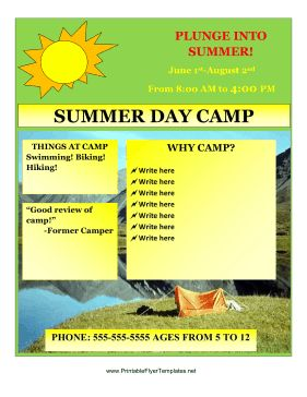summer camp brochure template free download - 17 best images about summer camp marketing ideas on