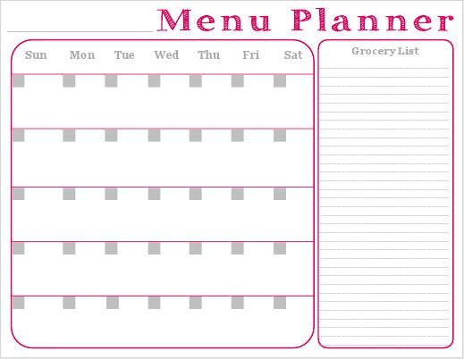 Free Printable - Monthly Menu Planner with Grocery List