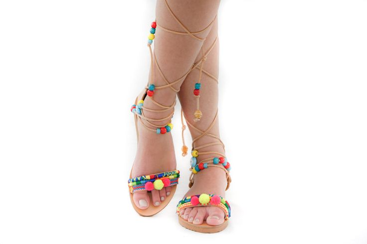 Piccolo Lace up leather sandals by Elina Linardaki