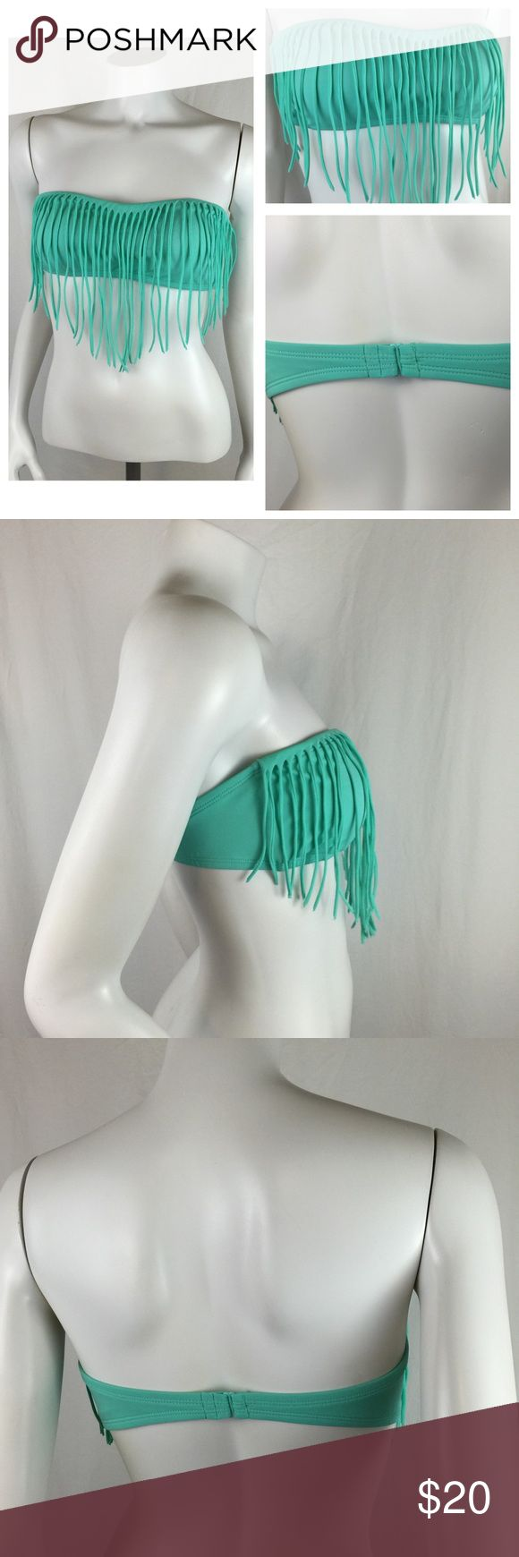 LA Hearts Teal Blue Fringe Festival Bikini Top Hot hot hot LA Hearts Teal Blue Fringe Festival Bikini Top. Awesome fringe over the top and a nice hook back. Size large in great condition. Perfect for the pool or at a festival. LA Hearts Swim Bikinis