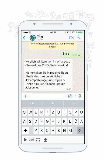 Ob unterwegs in der U-Bahn oder gemütlich daheim auf dem Sofa: Ein schneller Blick auf das Smartphone reicht, um wöchentlich Ihre persönlichen Jobempfehlungen abzurufen. Denn ab sofort ist der XING Stellenmarkt auch per Whats App verfügbar!