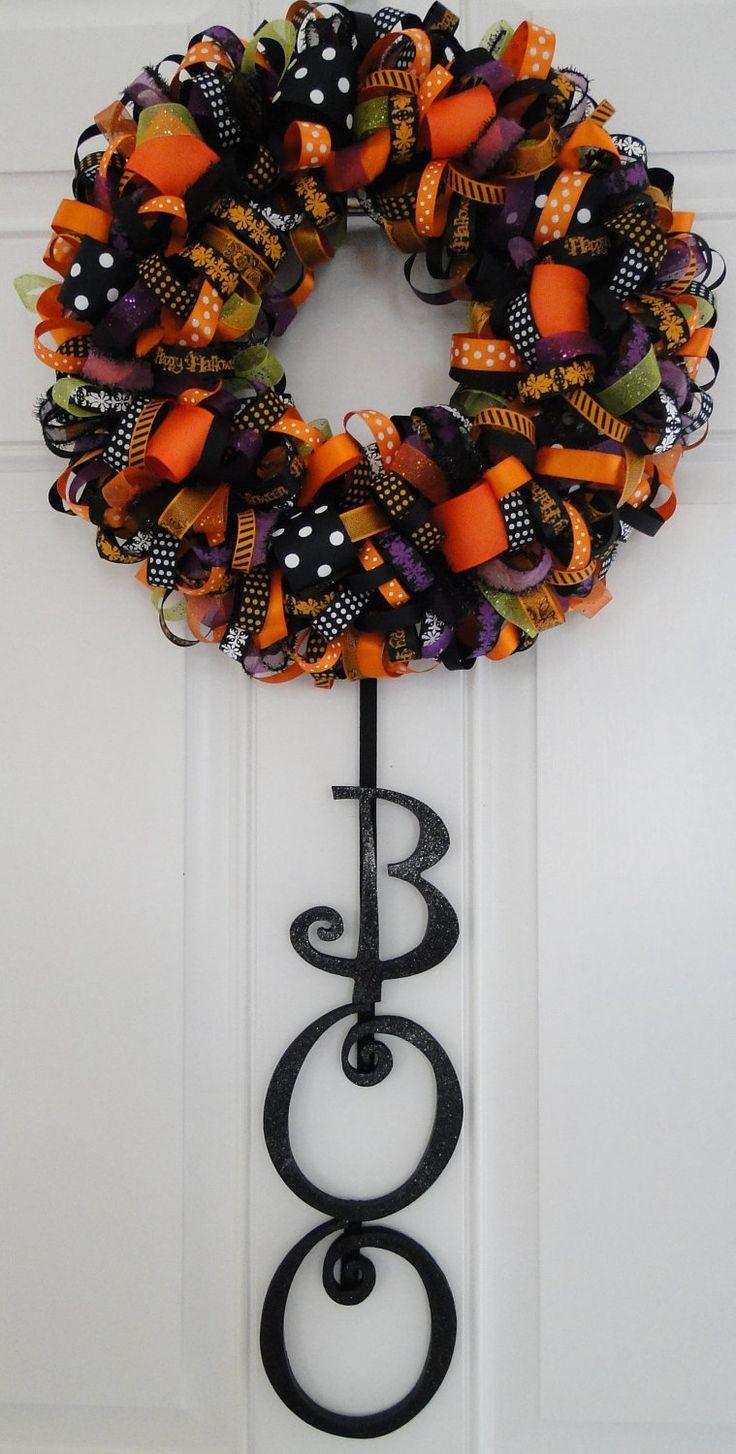 Halloween Ribbon Wreath Decoration- Boo