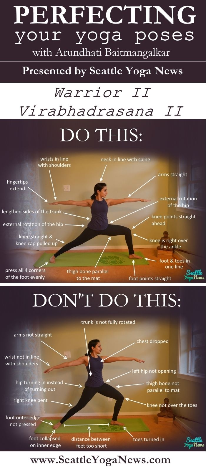 Pin it! A visual guide on what to do and what not to do when doing Warrior 2: http://seattleyoganews.com/perfecting-your-yoga-poses-warrior-ii/    Tags: yoga, infographic, asanas, asana, yoga pose, yoga poses, Warrior II, Warrior 2