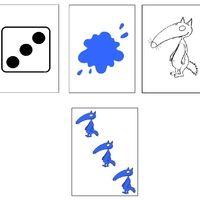 Un jeu d'observation (dessin et couleur) et de comptage. Une représentante m'a donné l'idée, vendredi matin, et j'ai adapté... Le meneur de jeu propose des cartes-modèles ; l'enfant doit trouver...