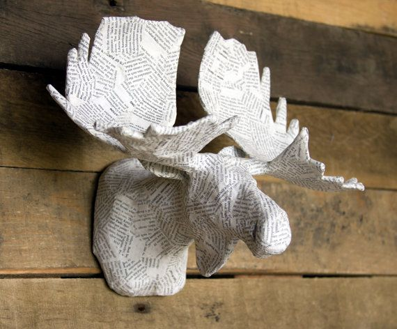 Paper mache animal head sculpture moose faux by paperunleashed papier m ch pinterest - Cardboard moosehead ...