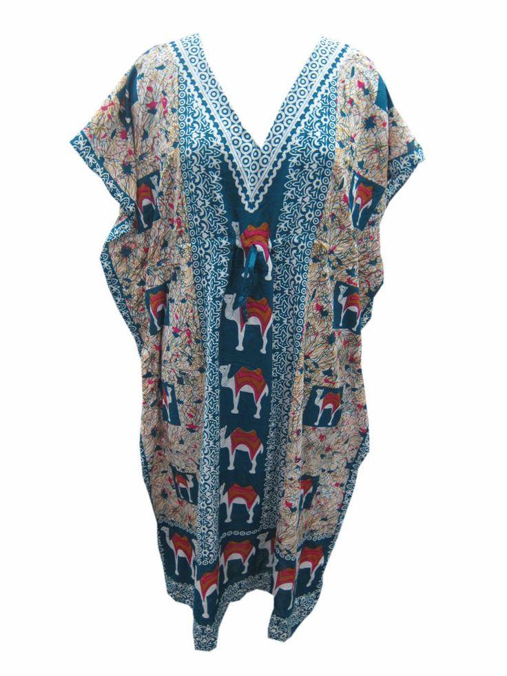 Animal Printed Caftan Blue Kimono Sleeves Cotton Nighty
