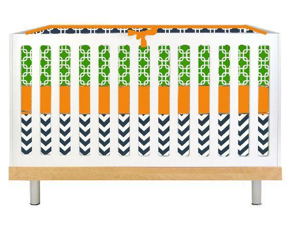 Modern Baby Boy Green, Navy, and Orange (Modern Custom Crib Set)
