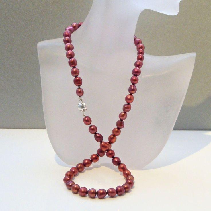 Echte Perlenkette rot 6,5 mm 45 cm Silber Zuchtperlenkette Schmuck