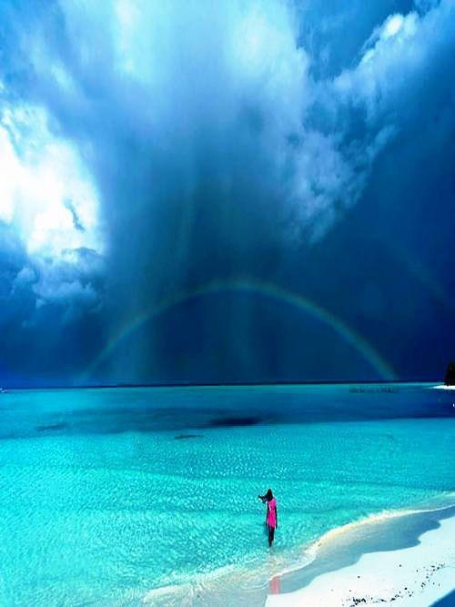 A beautiful rainbow after the rain, Palawan Islands, Philippines