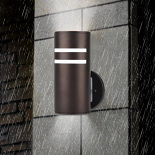 Wall Lamp,Deking Waterproof Cylinder Porch Light Modern Outdoor Lighting UL  US Listed Wall Sconce Painted Brown Suitable For Villa