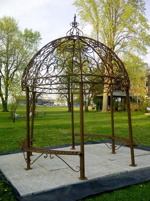 "Grand Wrought Iron Large Gazebo w/ Seating - $2989.00 - Measures 125"" in diameter at the widest point, outside bench to bench."