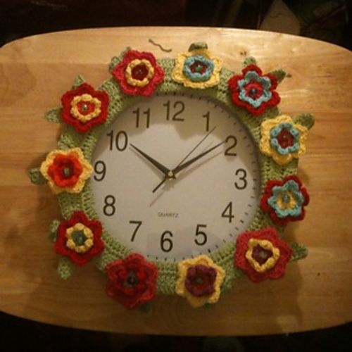 Springtime Wreath & Wreath Clock   Wreath pattern can be found @ http://attic24.typepad.com/weblog/springtimewreath.html