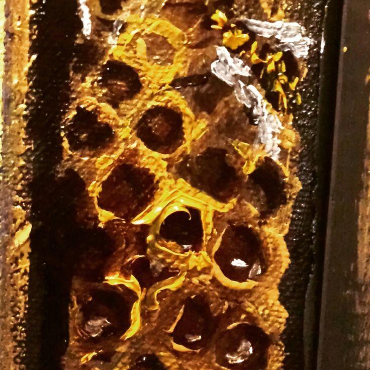 Favo api. Olio su tela Particolare quadro Le Mille e una notte. Agata Bulla