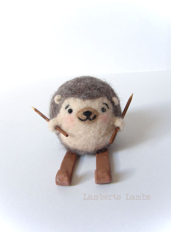 Needle felted Hedgehog on skies Felted hedgehog by LambertsLambs