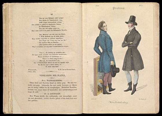 Proteus : tijdschrift voor de Hollandsche heerenkleeding en ter bevordering van nationale nijverheid / Nr. 1 (1832) - nr. 6 (1833), Amsterdam : Gebroeders Diederichs, 1832, no. 1, t.o.p. 28 en p. 28, spread.