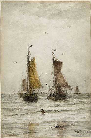 Hendrik Willem Mesdag Dutch (Groningen, The Netherlands 1831 - 1915 The Hague, The Netherlands) The Fishing Boats at Scheveningen Drawing Dutch, 19th century Watercolor, charcoal and traces of gouache on off-white textured wove paper 70.2 x 47 cm (27 5/8 x 18 1/2 in.)